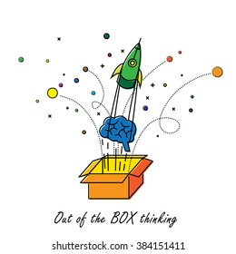 abstract out of box thinking - vector graphic