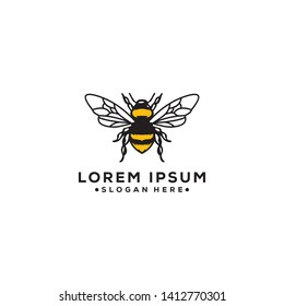 An abstract outline bee logo, simple and modern