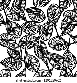 abstract outline of black leaves seamless pattern, natural background vector illustration