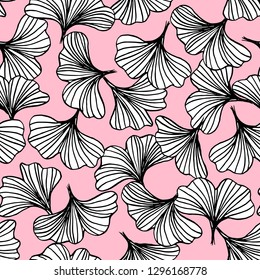 abstract outline of black and white ginkgo leaves seamless pattern on pink, natural background vector illustration