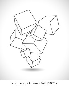 abstract outline cubes background 3d