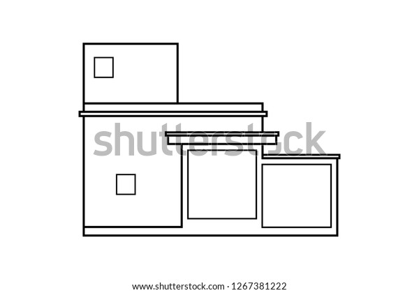 Abstract Outline Drawing Modern House Building Stock Vector