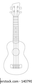 Abstract outline drawing of a soprano ukulele, a small four string acoustic instrument