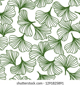 abstract outline of green ginkgo leaves seamless pattern, natural background vector illustration