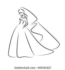 Abstract outline illustration of a young elegant bride in wedding dress with veil over her head. Sketch illustration or logo for your design