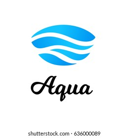 Abstract oval blue water logo vector