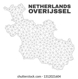 Abstract Overijssel Province map isolated on a white background. Triangular mesh model in black color of Overijssel Province map. Polygonal geographic scheme designed for political illustrations.