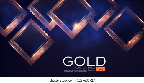 Abstract Overlapping Geometric Background with Gold Glitter Effect.Vector illusratration