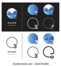 Abstract ozone logo design, Decorative ozone logo design, Design of ozone logo, Vector illustration, Vector graphic design of unique ozone logo