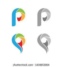 Abstract P letter vector technology logo collections