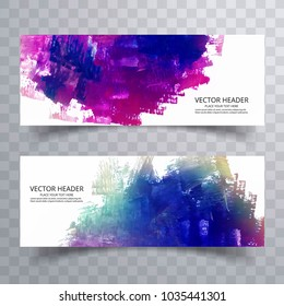 abstract paint brush colorful watercolor header set design