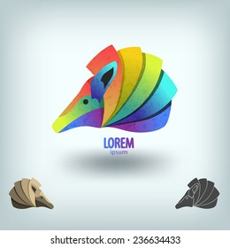 Abstract painted armadillo. Logo design template.