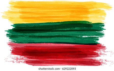 Abstract painted grunge flag of Lithuania. Vector illustration.
