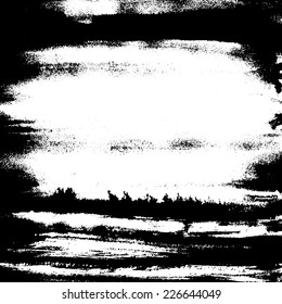 Abstract painted hand drawn grunge artistic texture in black and white.