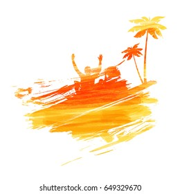 Abstract painted splash shape with silhouettes. Travel concept - palm trees, partying people. Multicolored watercolor imitation vector illustration.