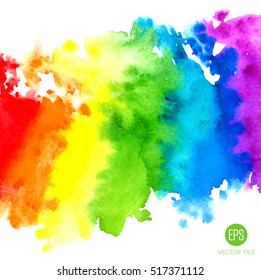 Abstract painting background. Watercolor rainbow, paper texture. Colorful. Web and mobile interface, website template. Red, orange, yellow, green, blue, violet, purple, white colors. Summer party