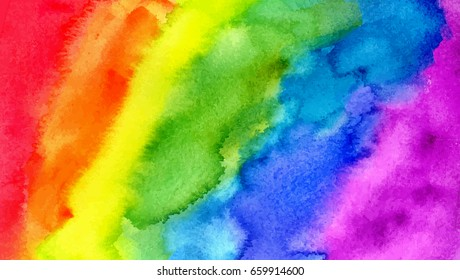 Abstract painting background. Watercolor rainbow. Hand drawn, paper texture. Vector. Colorful. Red, orange, yellow, green, blue, indigo, violet, purple bright colors. Web, website, mobile template