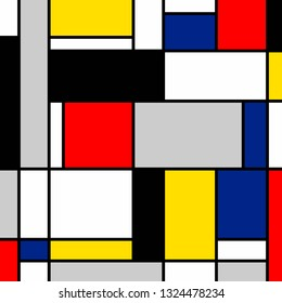 Abstract painting. Blue, yellow, red, white