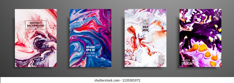 Abstract painting, can be used as a trendy background for wallpapers, posters, cards, invitations, websites. Modern artwork. Marble effect painting. Mixed blue, purple and red paints
