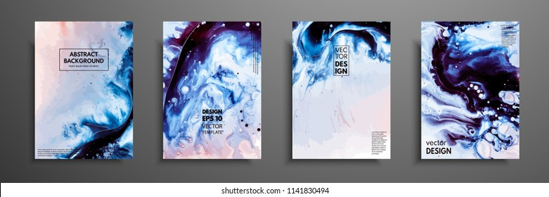 Abstract painting, can be used as a trendy background for wallpapers, posters, cards, invitations, websites. Modern artwork. Marble effect painting. Mixed blue, purple and white paints