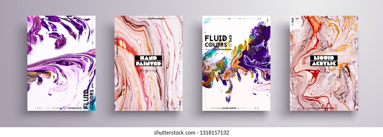 Abstract painting, can be used as a trendy background for wallpaper, poster, invitation, cover and presentation. Fluid art. Liquid marble texture with mixed of acrylic white, pink, purple paints.