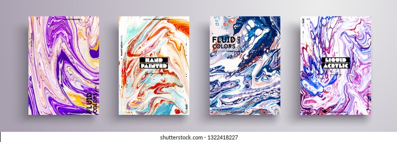 Abstract painting, can be used as a trendy background for wallpaper, poster, invitation, cover and presentation. Fluid art. Liquid marble texture with mixed of acrylic orange, blue, purple paints.