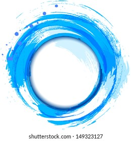Abstract painting design element. Blue smudge whirlpool.