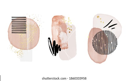 Abstract painting, pink art, modern pastel watercolor paint, watercolour pattern elements background. brush stroke poster set, stain design with gold isolated on white Vector
