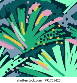Abstract painting seamless pattern. Free hand colorful background memphis style. Hand drawn tropical background.