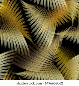 Abstract palm leaves 3d vector seamless pattern. Modern ornamental creative background. Luxury line art tracery gold floral ornament. Surface texture. 3d wallpaper. Exotic tropical style ornate design