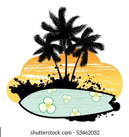 Abstract with palm trees, flowers and surfboard