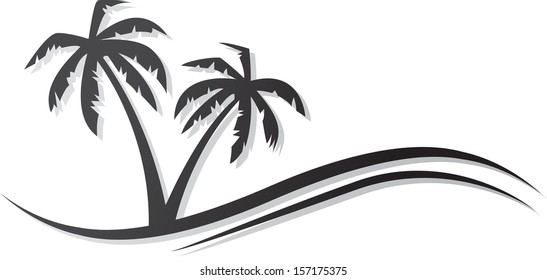 Abstract palms black icon. eps10