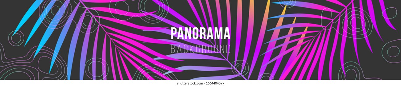 Abstract panorama illustration. Dypsis lutescens colorful leaves and map texture lines. Neon colors. Creative concept. Eps10 vector.