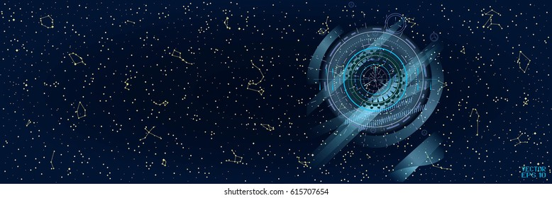 Abstract Panoramic Sky Map of Hemisphere. Constellations on Night Dark Background with Futuristic Optical Interface. Vector Illustration