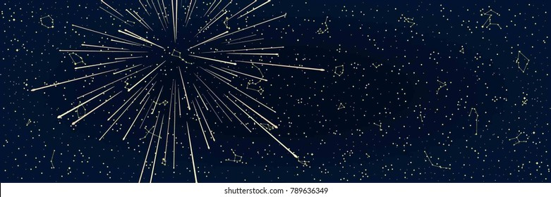 The Abstract Panoramic Sky Map of Hemisphere with a Meteor Stream or Fireworks. Constellations on a Night Dark Background. Vector Illustration
