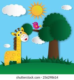 Abstract paper bird and giraffe. Vector illustration.