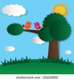 Abstract paper bird on tree and sunshine. Vector illustration.