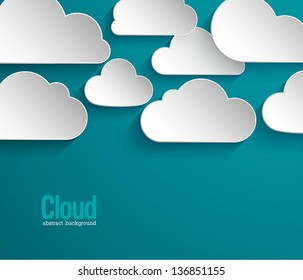 Abstract paper clouds background. Vector illustration.