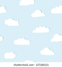 Abstract paper clouds seamless pattern. Vector illustration.