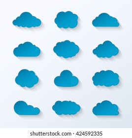Abstract paper clouds set. Vector illustration.
