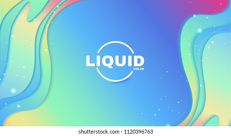 Abstract Paper Cut 3D Wave Background. Rainbow Coloe Soft Design. Vector illustration