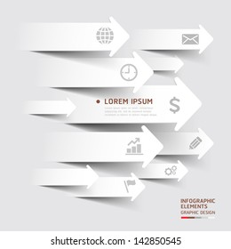 Abstract paper cut arrow background. Vector illustration. can be used for workflow layout, diagram, number options, business step options, banner, web design, infographics