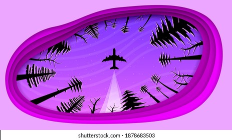 Abstract Paper Cut Background With Trees Sky Airplane Travel Stars Vector Design Style