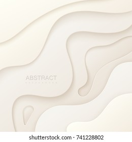 Abstract paper cut background. White paper layers. Origami or carving decoration. Topography concept. Vector illustration