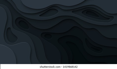 Abstract paper cut black background. Topographic map dark relief texture with curved levels, hole and shadow. Vector cutout concept