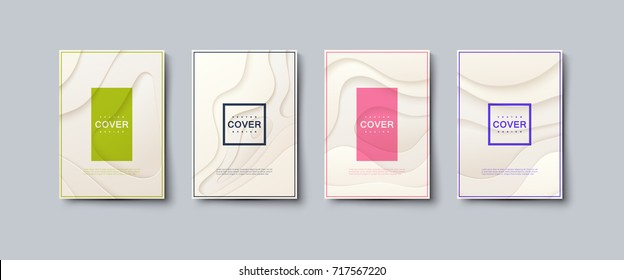 Abstract paper cut cover design. Vector creative illustration. A4 paper size posters textured with wavy ivory paper layers. Party or business flyers template. Brandbook covers mockup. Material design
