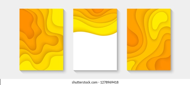 Abstract paper cut covers. Vertical banners, brochures, posters. Orange color. Simple realistic design. Beautiful background. Flat style vector illustration.