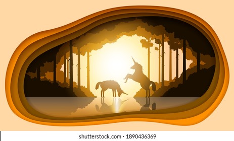 Abstract Paper Cut Nature Landscape Background With Unicorns Tree Forest Water Vector Design Style