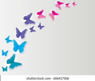 Abstract Paper Cut Out Butterfly Background. Vector Illustration EPS10