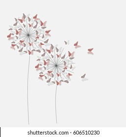 Abstract Paper Cut Out Butterfly Flower Background. Vector Illustration EPS10